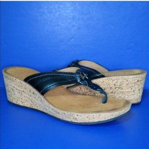 Clark's Cork Wedge Flip Flop Sandals